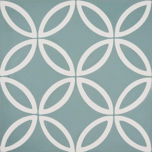 Amlo Handmade Cement Tile Green White