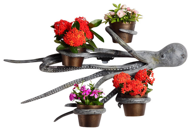 Octopus Wall Hanging Planter Holder With 4 Pots Beach Style Outdoor Pots And Planters By Zeckos