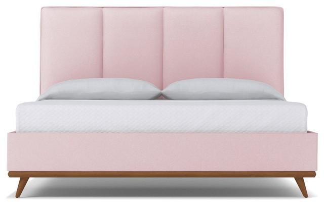 Carter Upholstered Bed, Blush Velvet, Queen.