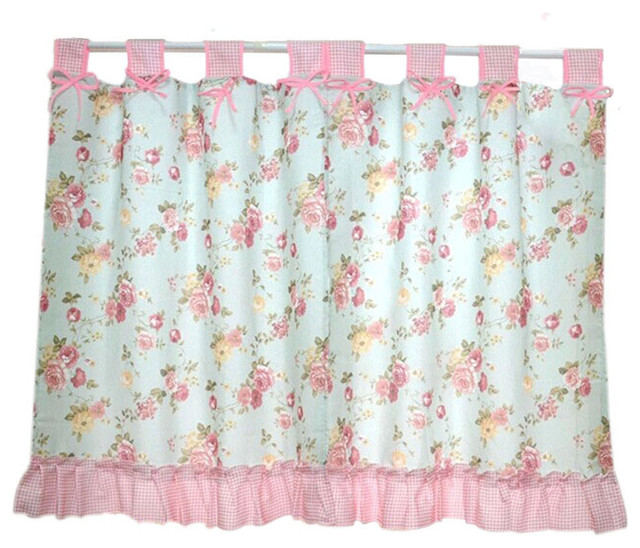Set Of 2, Pastorable Pink Peony Bowknot Window Valance Window Curtains 270x120cm.