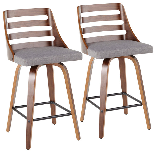 Fantastic Trevi Mid Century Modern Counter Stool Gray Fabric Set Of 2 Caraccident5 Cool Chair Designs And Ideas Caraccident5Info