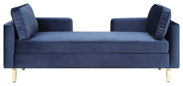 Navy Velvet Upholstered Double Chaise Lounge Chair With 2 Pillows ...