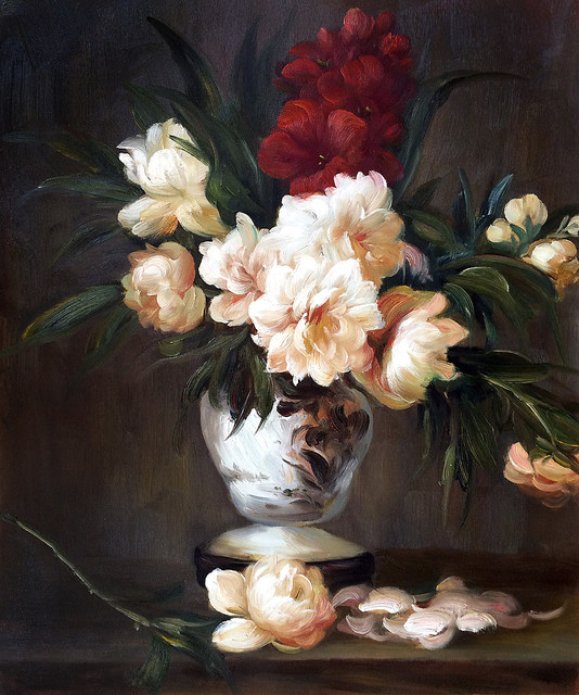 Manet Peonies In A Vase Traditional Paintings By