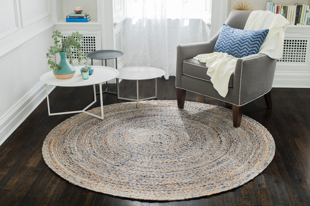 Kerala Denim And Jute Round Rug