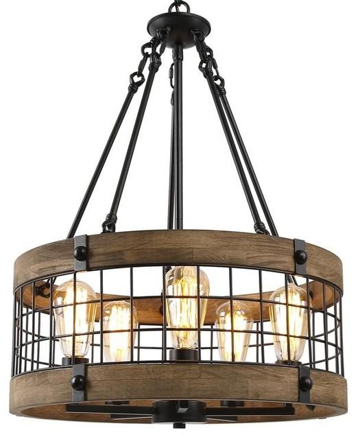 5 Light Iron Wire Farmhouse Chandeliers Wooden Kitchen Island Lighting Industrial Kitchen Island Lighting By Lnc