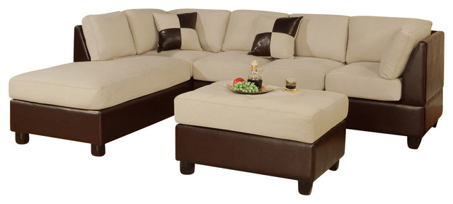 3 piece sectional sofa cream microfiber brown faux - Microfiber living room furniture sets ...