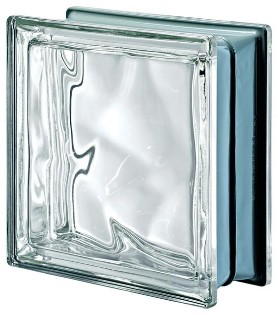 Pegasus Metalized Wavy Glass Block, Neutro, Clear.