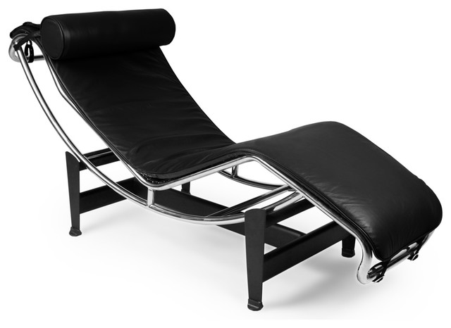 Gravity aniline leather chaise lounge view in your for Black chaise lounge indoor