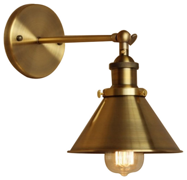 1-Light Wall Sconce With Metal Cone Shade, Brass - Industrial - Wall Sconces - by Lamps Next