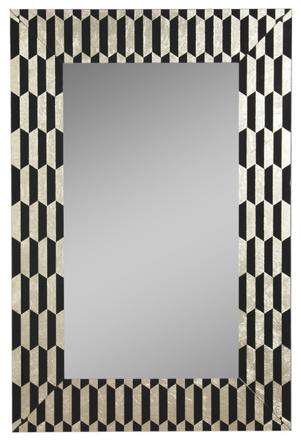 "Wall Mirror, Black And Gold, 32""x48""."