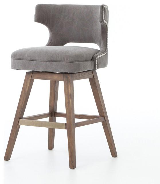 Pleasing 36 Set Of 2 Counter Stool Nettle Wood Swivel Base Nail Head Detail Round Back Dailytribune Chair Design For Home Dailytribuneorg