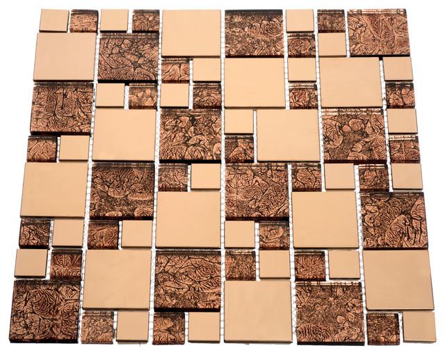 "12""x12"" Venetian Series Tile, Set of 11, Satin Copper"