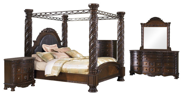 815742676f48 Ashley North Shore 5-Piece Bedroom Set Poster Canopy