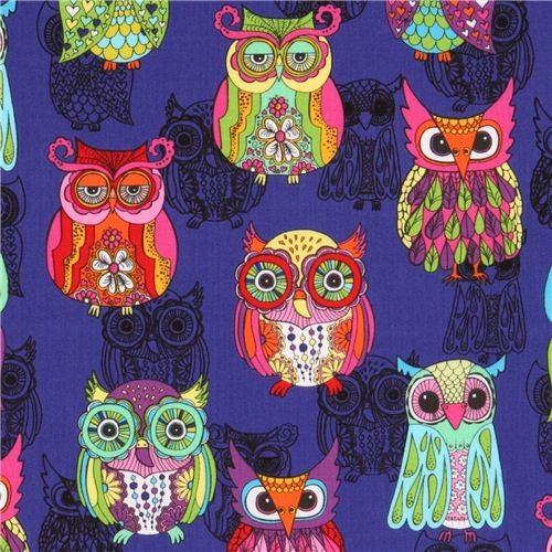 purple owl fabric with colourful embellished owls