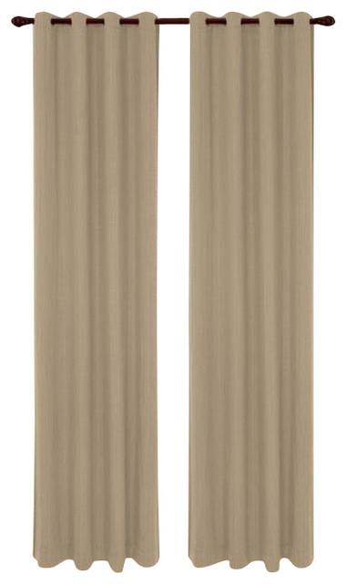 "Set Of 2 Broadway Linen Textured Grommet Top Curtain Drapery Panels 84"", Linen"