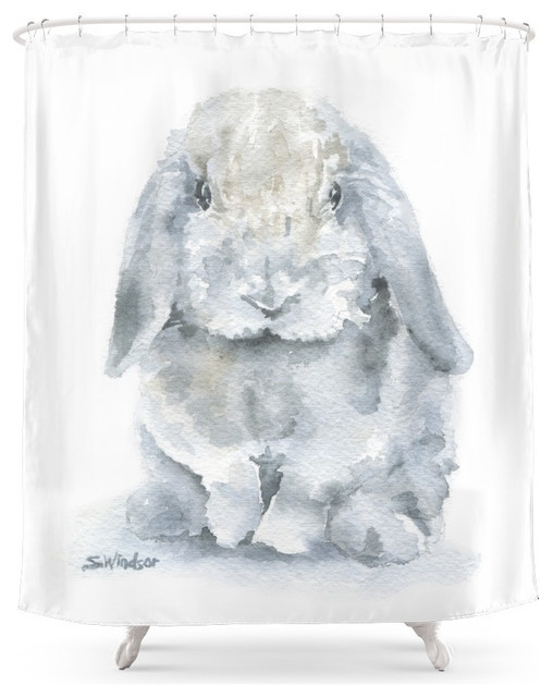 Kess Inhouse Carollynn Tice Gifted Ii Brown Gray Shower Curtain Mini Lop Rabbit Watercolor Painting