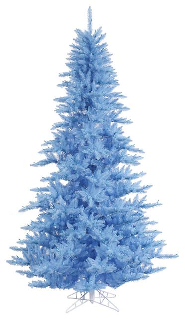 Contemporary Christmas Tree.Vickerman 3 Sky Blue Fir Artificial Christmas Tree Unlit