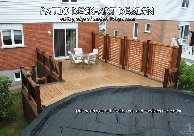 Patio deck art designs trex traditional porch for Plan de deck de piscine