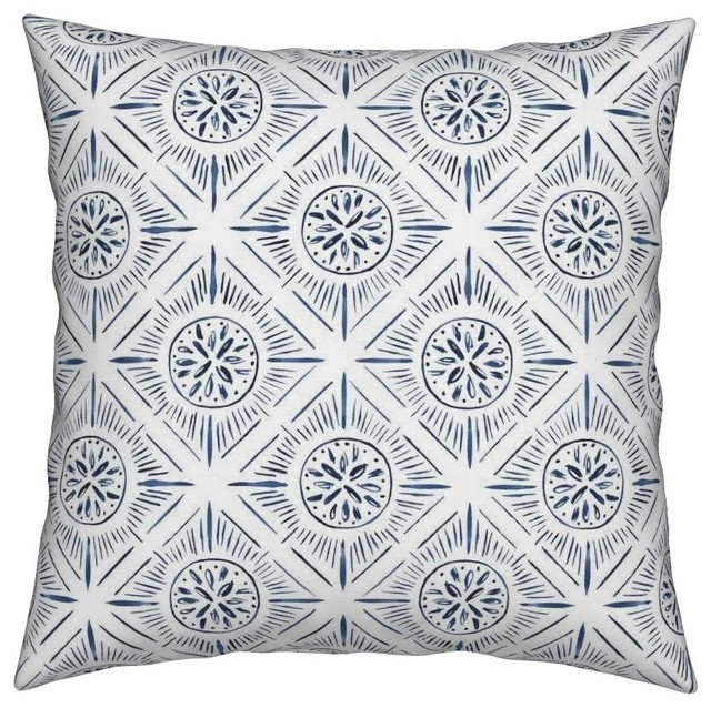 Diamond Sunburst Tile Watercolor Geometric Throw Pillow Contemporary Decorative Pillows By Roostery
