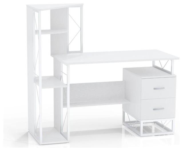 Mayline Soho Writing Desk With Storage And Shelving, White.