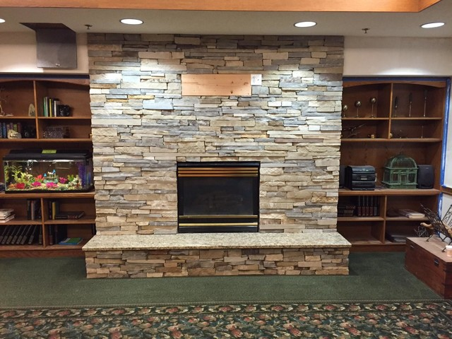 Ledge 57 Natural Stone Veneer Fireplace Installation