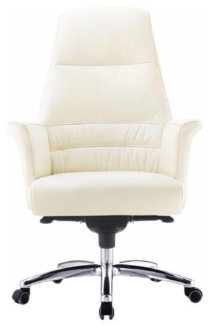 Geffen Genuine Leather Aluminum Base High Back Executive Chair, Cream.