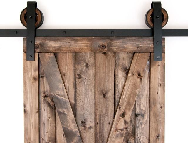 Black rustic slide barn door closet hardware set rustic for Sliding barn door rollers