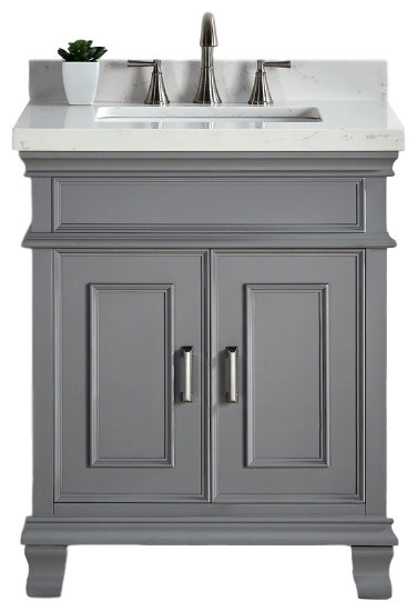 """Mission Hills Middleton 28"""" Bath Vanity With Sink, Gray"""