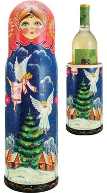Wine Bottle Christmas Tree Rack.Wood Carved Russian Matreshka Angel And Christmas Tree Bottle Holder