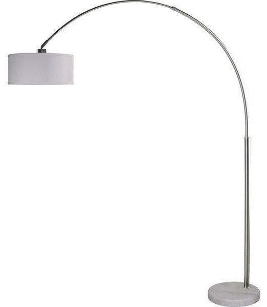 Modern arch floor lamp with white drum shade and marble for Arched floor lamp with drum shade