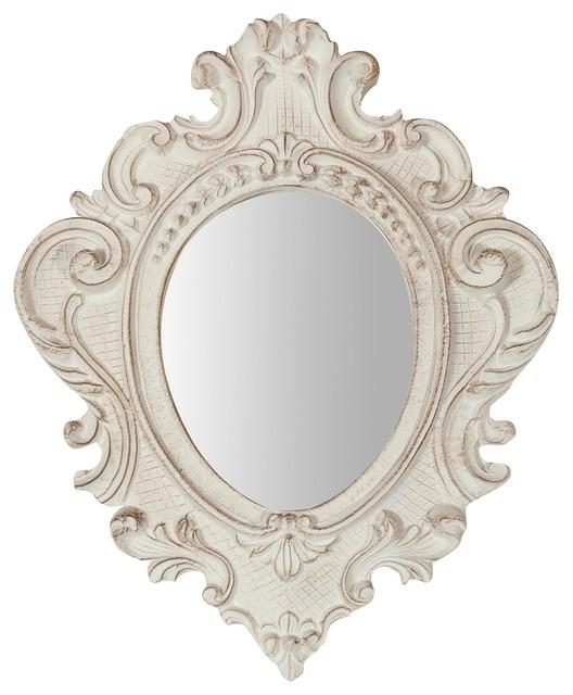 Antique Foliage Oval Wall Mirror, White, 32x38 cm