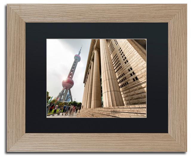 "Philippe Hugonnard &x27;pearl Tower&x27; Art, Birch Frame, Black Matte, 14""x11""."