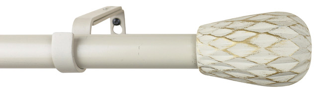 "Urbanest 1"" Diameter Metrico Curtain Rod, 84""-120"", Gilded French White."