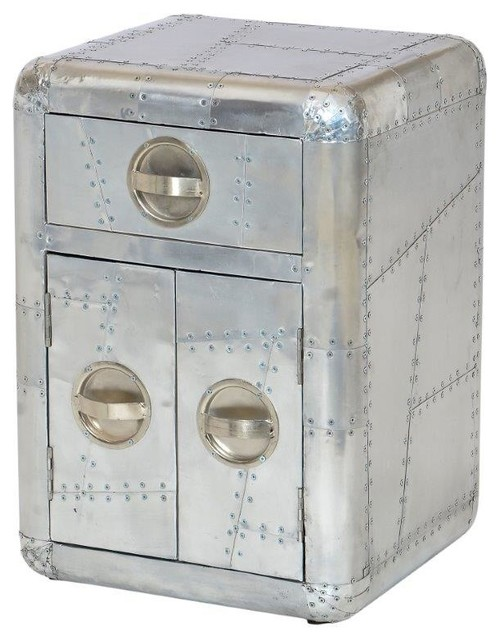 Aviator Aluminum Bed Side Table With Door Industrial Side Tables And End