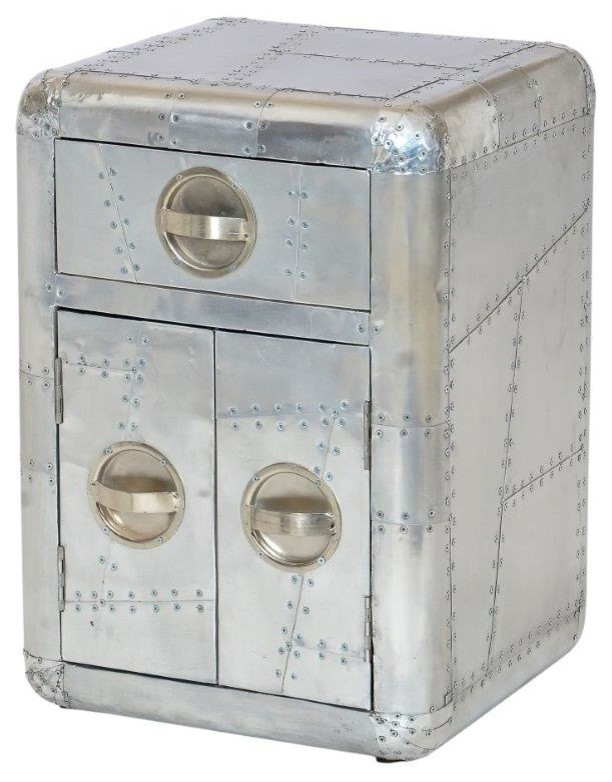 Aviator Aluminum Bed Side Table With Door Industrial Side Tables And End Tables By Seventhstaretail