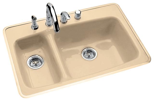 High low double bowl tile or rim mount transitional - Kitchen sink rim ...