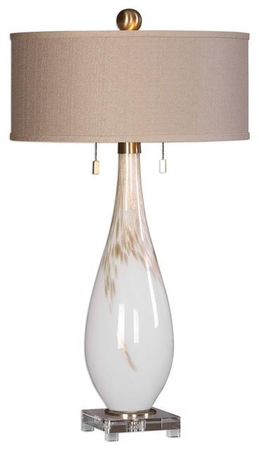Swirled White Bronze Glass Table Lamp, Taupe Beige Elegant Tall.