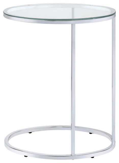 Small Oval Glass Top Coffee Table.Small Accent Oval Glass Top Contemporary Snack Side Table Chrome Base