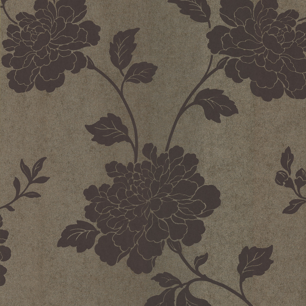 Salon Japanese Floral Wallpaper Contemporary Wallpaper By