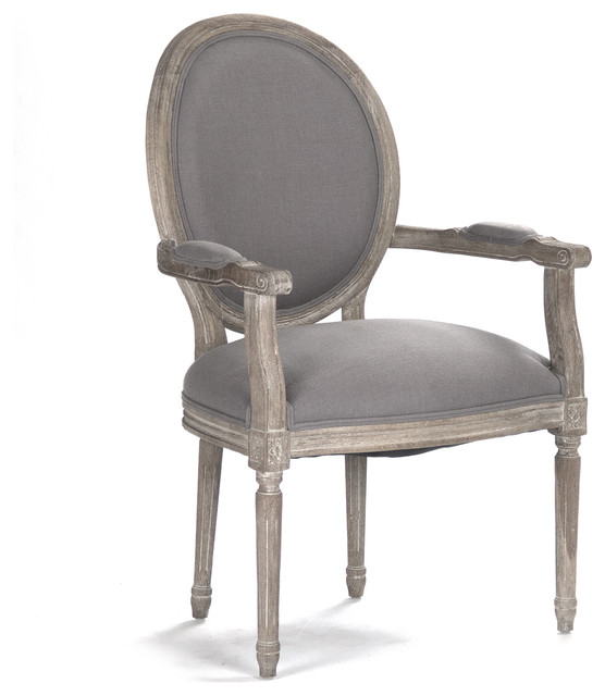 Nice Madeleine French Country Oval Linen Dining Armchair, Gray  Traditional Dining Chairs