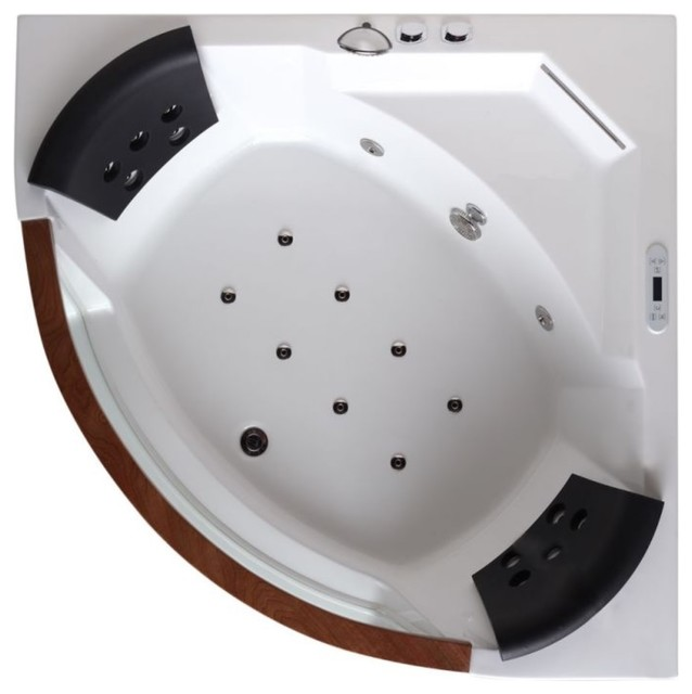 5&x27; Clear Rounded Corner Whirlpool Bathtub For Two.