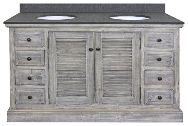 """Double Fir Sinks Vanity Driftwood With Polished Surface Granite Top, 60"""", Gray."""