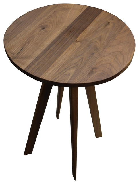 walnut round side table modern table