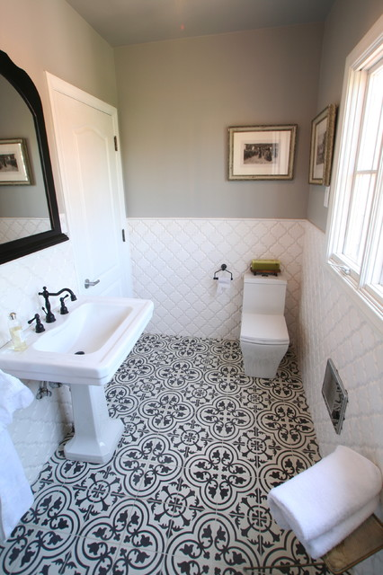 Cement Tiles Create Bold Contrast In A Bathroom