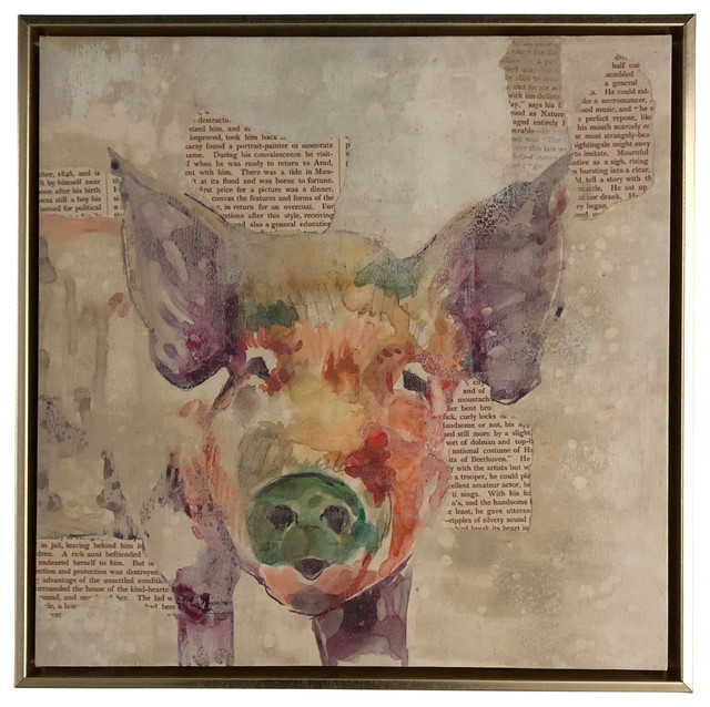 Framed Canvas Art, Pig, 14x14.