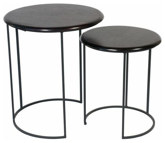 Attractive Ikea Black Metal Side Table Round Uk Outdoor Folding Pair Nesting Tables  Est Retail
