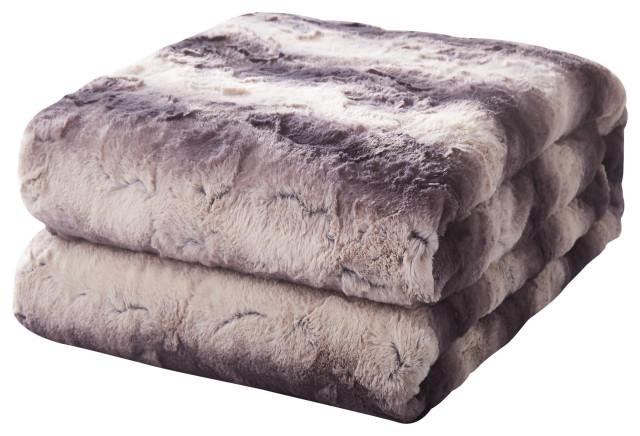 "Tache Luxurious Purple Black Striped Faux Fur Throw Blanket, 90""x90"""