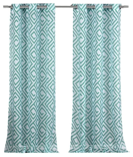 Anna Sheer Grommet Pair Panel, Set Of 2, Teal.