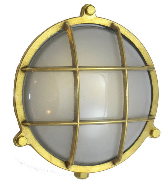 Round Cage Light With Screws Solid Brass Interior Exterior By Shiplights Beach Style