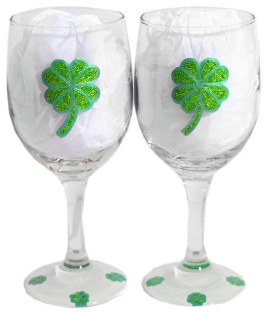 671e3fa4e47 Hand Painted Shamrock Wine Glasses